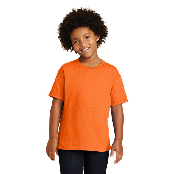 Gildan Non-ANSI Hi Vis Safety Youth Cotton Poly T-Shirt 5000B Safety Orange