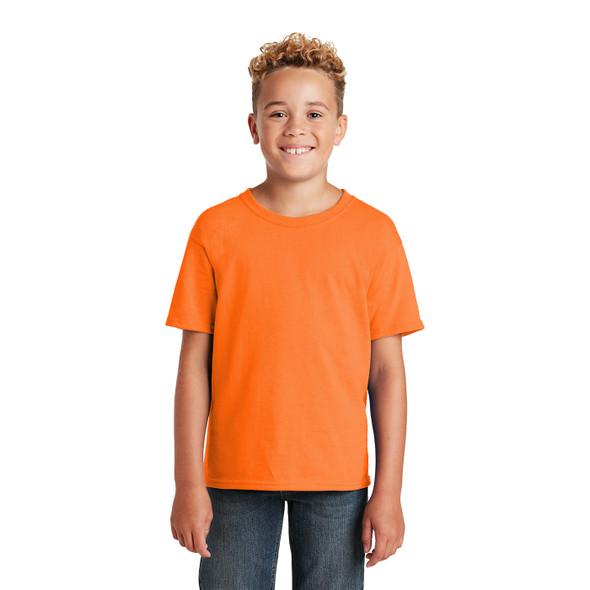 Jerzees Non-ANSI Hi Vis Safety Youth Dri-Power Cotton Poly T-Shirt 29B Safety Orange