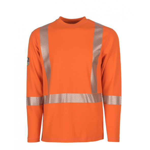 DragonWear FR Class 3 Hi Vis Orange X-Back Segmented Tape Moisture Wicking Made in USA Shirt DFH05 Front