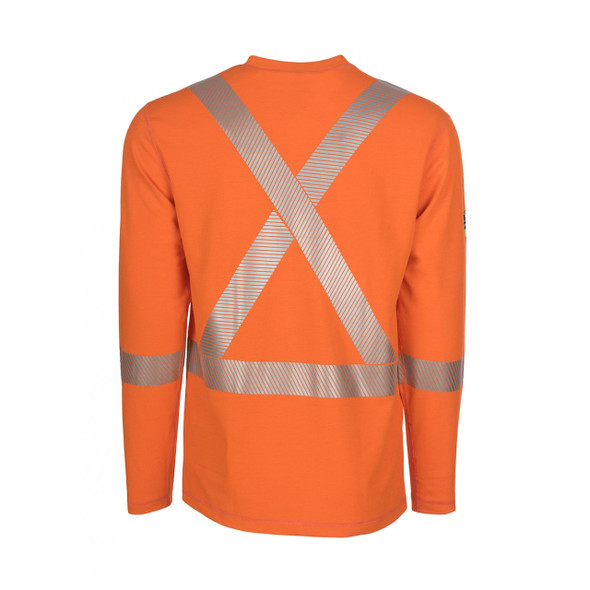 DragonWear FR Class 3 Hi Vis Orange X-Back Segmented Tape Moisture Wicking Made in USA Shirt DFH05 Back