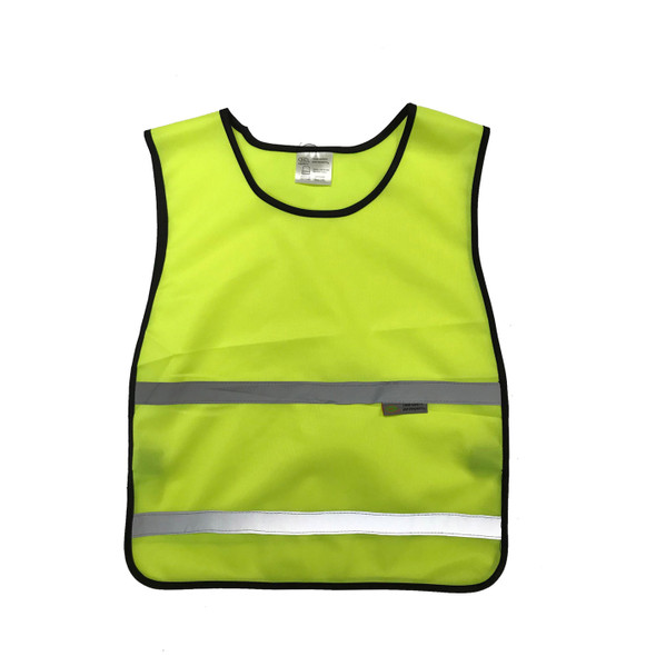 Non-ANSI Yellow Poly Tricot Youth Safety Vest for kids and children - SVY1500 Front