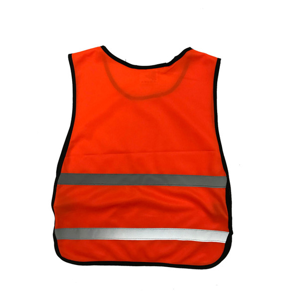 Non-ANSI Orange Poly Tricot Youth Safety Vest SVY1600 Back