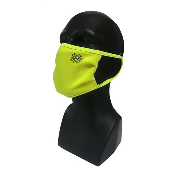 NSA FR Made in USA Hi Vis Yellow Double Layer Face Mask with Ear Loops MASK2-Y - Bag of 50