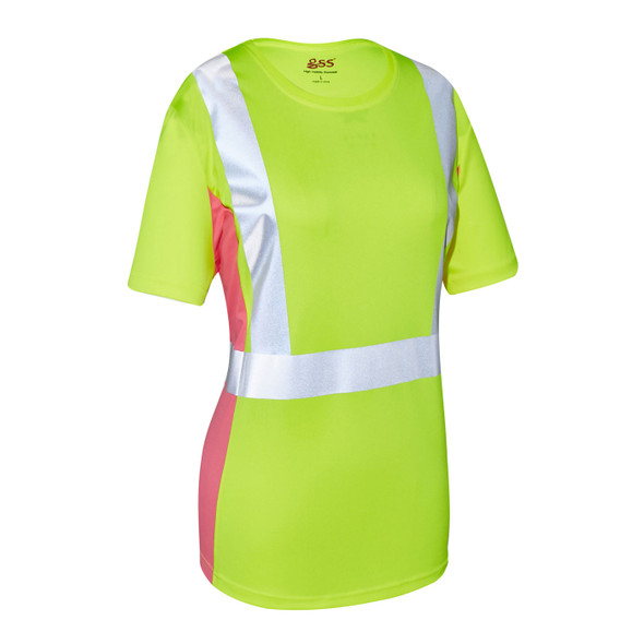 GSS Class 2 Hi Vis Lime with Pink Trim Sides Ladies T-Shirt 5125 Right Side