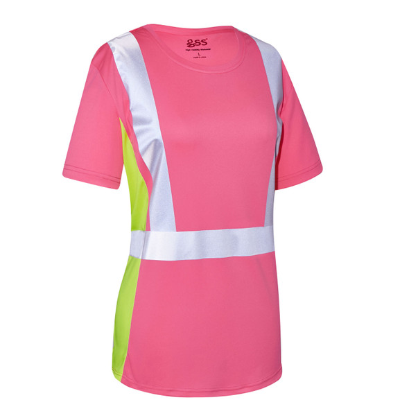 GSS Non-ANSI Hi Vis Pink with Lime Trim Sides Ladies T-Shirt 5126 Right Side