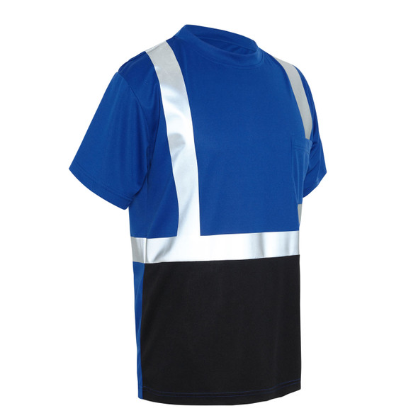 GSS Non-ANSI Hi Vis Reflective Blue with Black Bottom T-Shirt 5123 Right Side