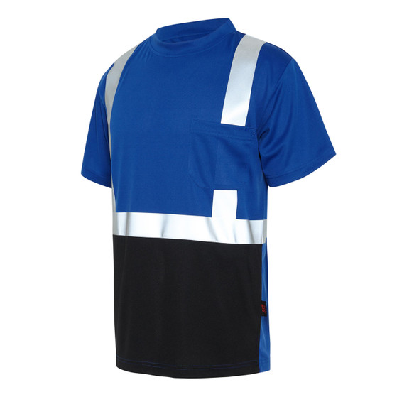 GSS Non-ANSI Hi Vis Reflective Blue with Black Bottom T-Shirt 5123 Left Side