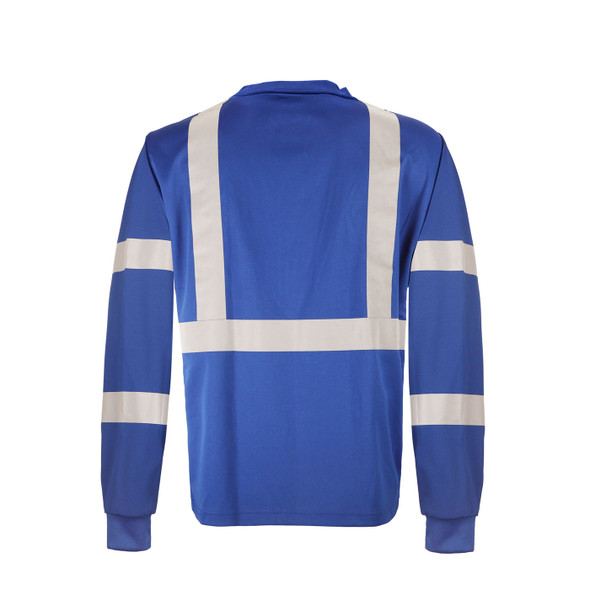 GSS Non-ANSI Hi Vis Reflective Blue with Black Bottom Long Sleeve T-Shirt 5133 Back