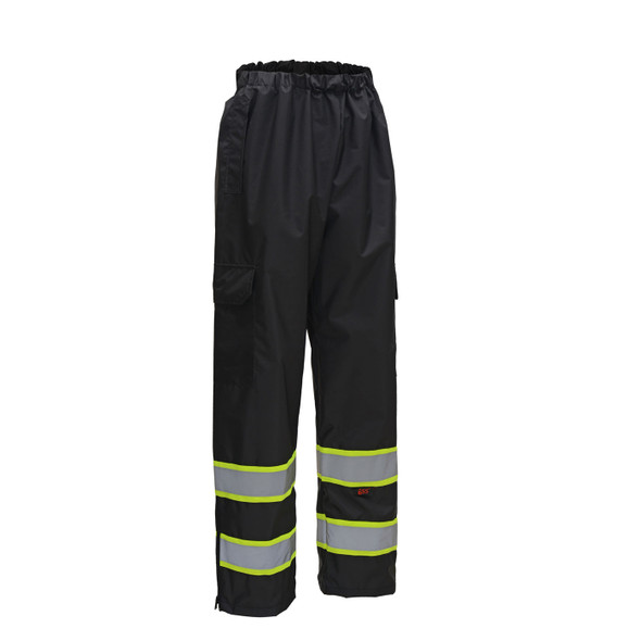 GSS Non-ANSI Enhanced Visibility Two-Tone Black Rain Pants 6717 Back