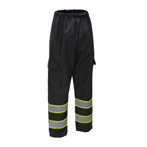 GSS Non-ANSI Enhanced Visibility Two-Tone Black Rain Pants 6717 Front