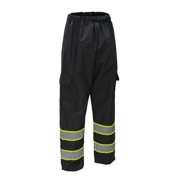 GSS Non-ANSI Enhanced Visibility Two-Tone Black Rain Pants 6717 Front