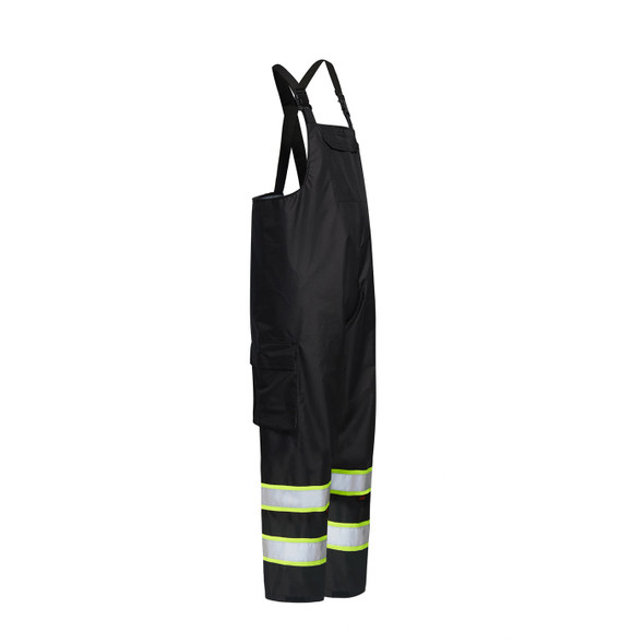 GSS Enhanced Visibility Black Rain Bib Pants 6809 Side