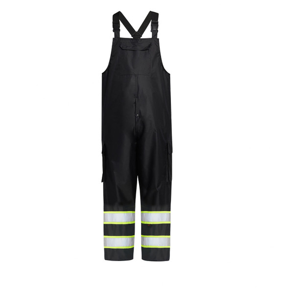 GSS Enhanced Visibility Black Rain Bib Pants 6809 Front