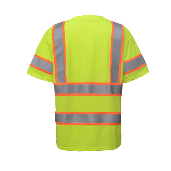 GSS Class 3 Hi Vis Lime Two Tone Reflective T-Shirt with Chest Pocket 5009 Back