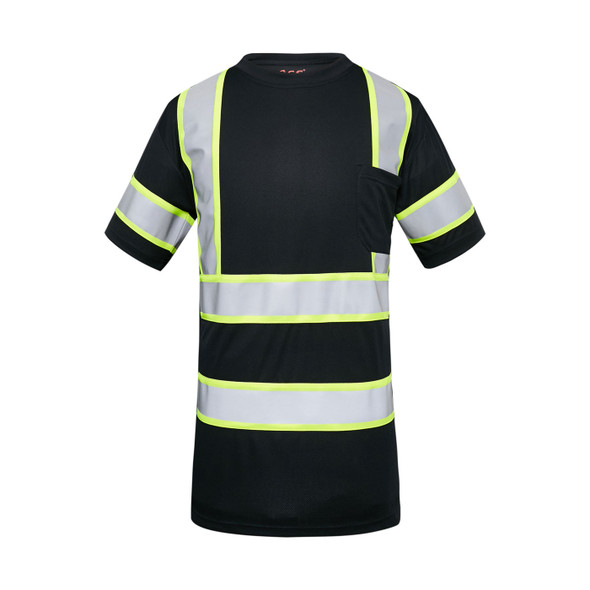 GSS Enhanced Visibility Black Two-Tone Reflective T-Shirt with Chest Pocket 5011 Front