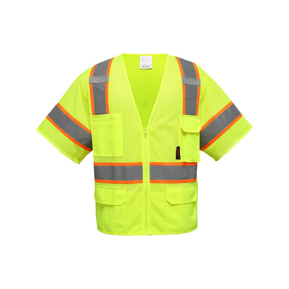 GSS Class 3 Hi Vis Lime Two Tone Reflective Safety Vest with 6 Pockets 2503 Front