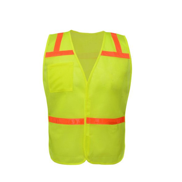 GSS Non-ANSI Enhanced Visibility Lime Mesh Economy Safety Vest 3121 Front