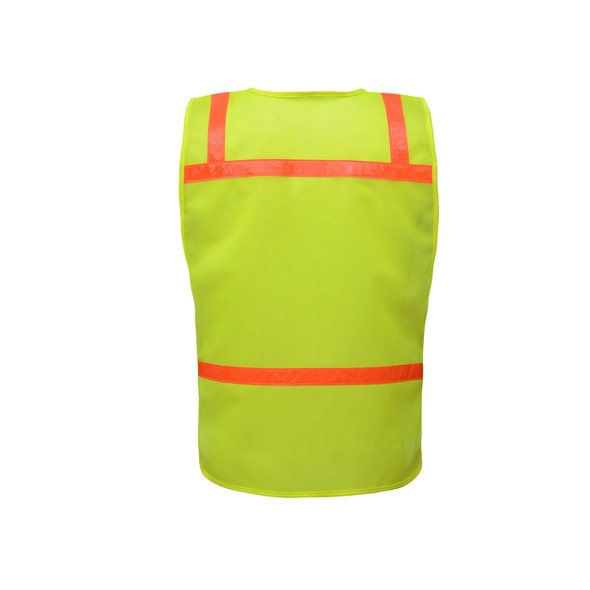 GSS Non-ANSI Enhanced Visibility Lime Mesh Economy Safety Vest 3121 Back