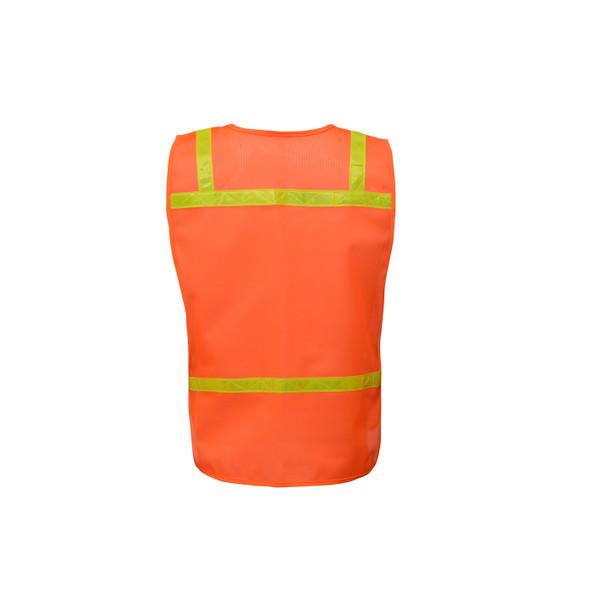 GSS Non-ANSI Enhanced Visibility Orange Mesh Economy Safety Vest 3122 Back