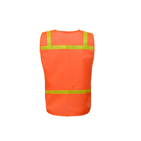 GSS Non-ANSI Enhanced Visibility Orange Mesh Economy Safety Vest 3122 Back