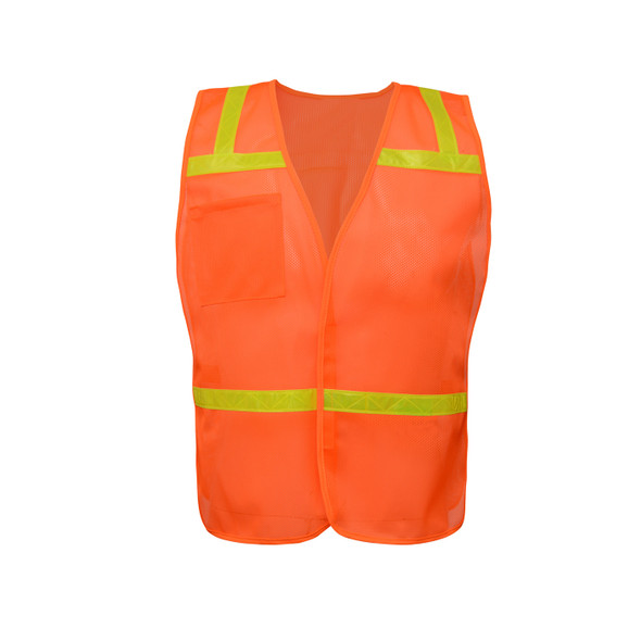 GSS Non-ANSI Enhanced Visibility Orange Mesh Economy Safety Vest 3122 Front
