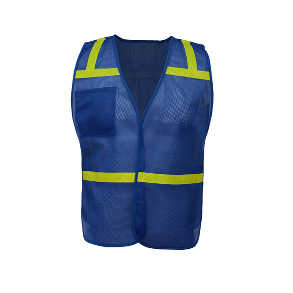 GSS Non-ANSI Enhanced Visibility Blue Mesh Economy Safety Vest 3123 Front