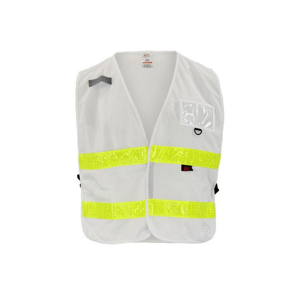 GSS Non-ANSI Enhanced Visibility White Adjustable Mesh Safety Vest 3118