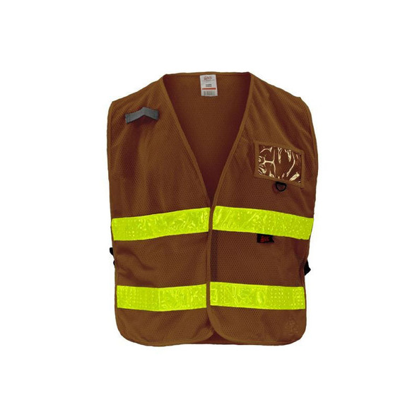 GSS Non-ANSI Enhanced Visibility Brown Adjustable Mesh Safety Vest 4111