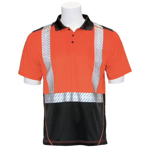 ERB Class 2 Hi Vis Short Sleeve Polo Shirt with Segmented Tape and Black Bottom 9100SBSEG Orange Front