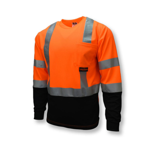 Radians Class 3 Hi Vis Orange Black Bottom Long Sleeve T-Shirt ST21B-3POS Front