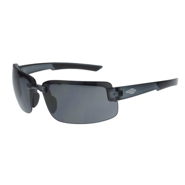 Crossfire ES6 Black Matte Half-Frame HD Smoke Lens Safety Glasses 440401 - Box of 12