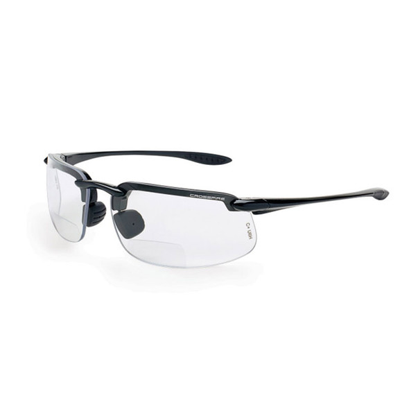 Crossfire ES4 Pearl Gray Half-Frame Clear Bifocal Reader Lens Safety Glasses ES4-Readers - Box of 12