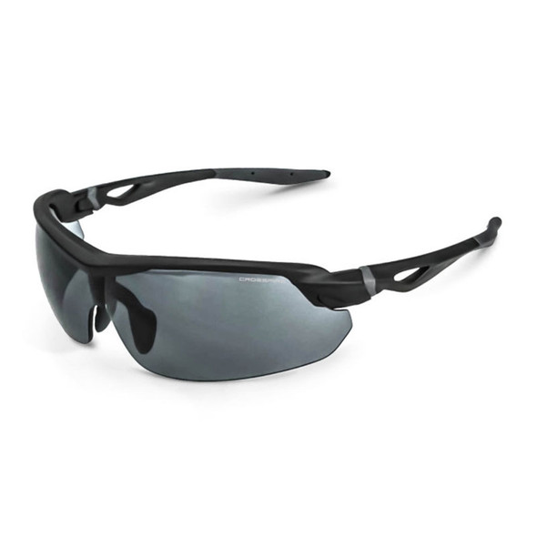 Crossfire Cirrus Matte Black Half-Frame Smoke Lens Safety Glasses 39221 - Box of 12