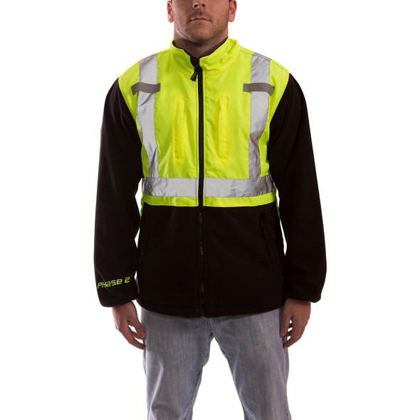 Tingley Class 2 Hi Vis Yellow Black Bottom Phase 2 Jacket J73022 Front