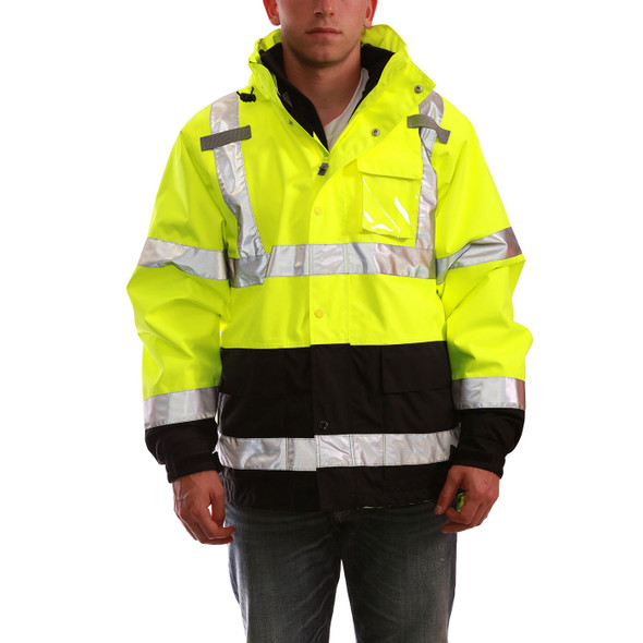 Tingley Class 3 Hi Vis Yellow Black Bottom Icon 3-in-1 Safety Jacket J24172 Front