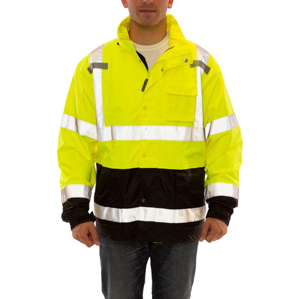 Tingley Class 3 Hi Vis Yellow Black Bottom Waterproof Icon LTE Jacket J27122 Front