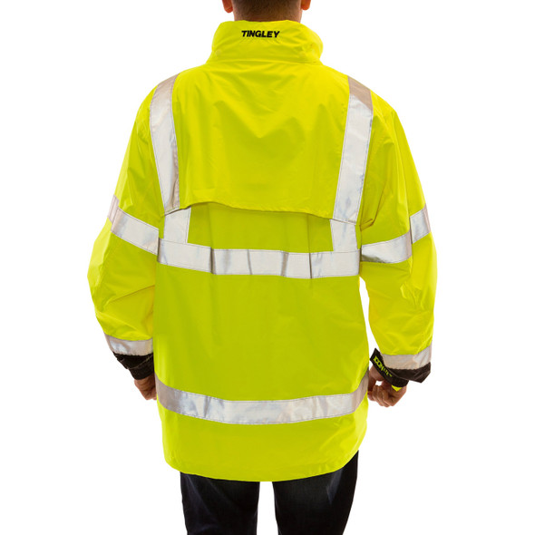 Tingley Class 3 Hi Vis Yellow Black Bottom Waterproof Icon LTE Jacket J27122 Back
