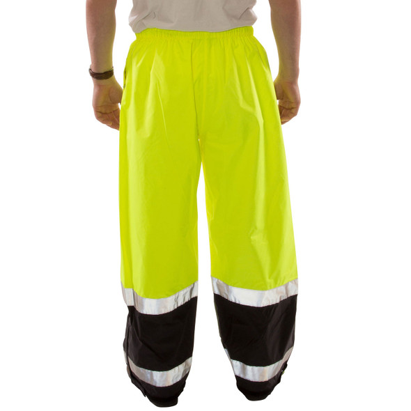 Tingley Class E Hi Vis Yellow Black Bottom Icon LTE Rain Pants P27122 Back