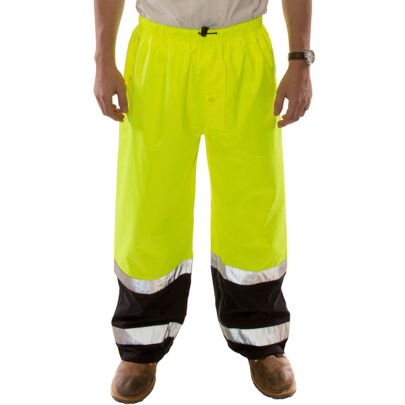 Tingley Class E Hi Vis Yellow Black Bottom Icon LTE Rain Pants P27122 Front