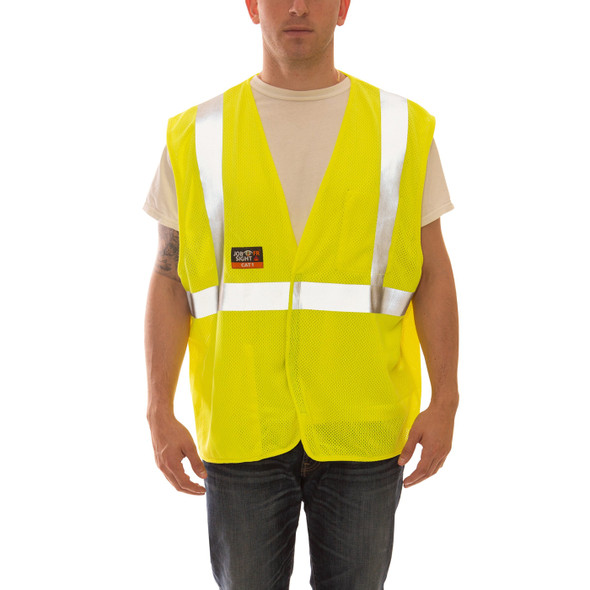 Tingley FR Class 2 Hi Vis Yellow Job Sight Mesh Safety Vest V80622 Front