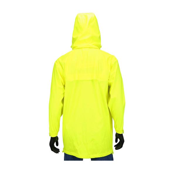 West Chester Non-ANSI Hi Vis Yellow Stretch Rain Jacket 4540J Back