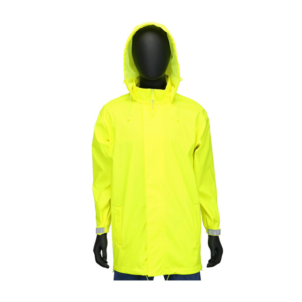 West Chester Non-ANSI Hi Vis Yellow Stretch Rain Jacket 4540J Front