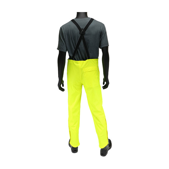 West Chester Non-ANSI Hi Vis Yellow Stretch Bib Overalls 4540B Back