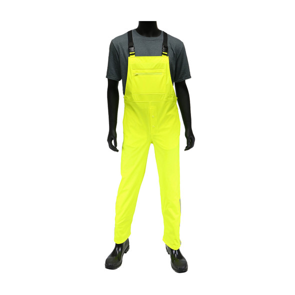 West Chester Non-ANSI Hi Vis Yellow Stretch Bib Overalls 4540B Front