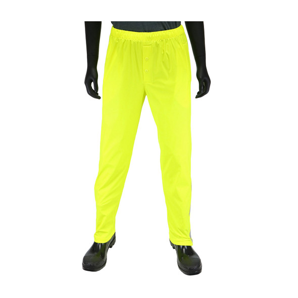 West Chester Non-ANSI Hi Vis Yellow Stretch Rain Pants 4540P Front