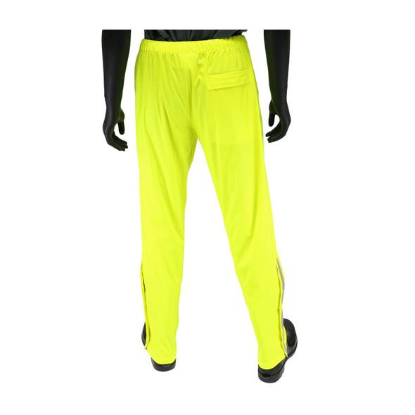 West Chester Non-ANSI Hi Vis Yellow Stretch Rain Pants 4540P Back
