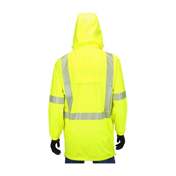 West Chester Class 3 Hi Vis Yellow Rain Jacket with Segmented Tape 4541J Back