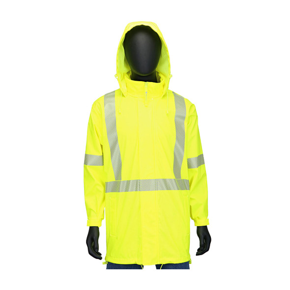 West Chester Class 3 Hi Vis Yellow Rain Jacket with Segmented Tape 4541J Front