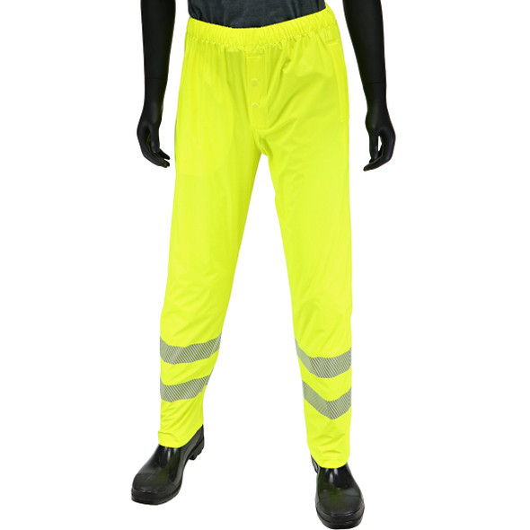 West Chester Class E Hi Vis Yellow Rain Pants with Segmented Tape 4541P