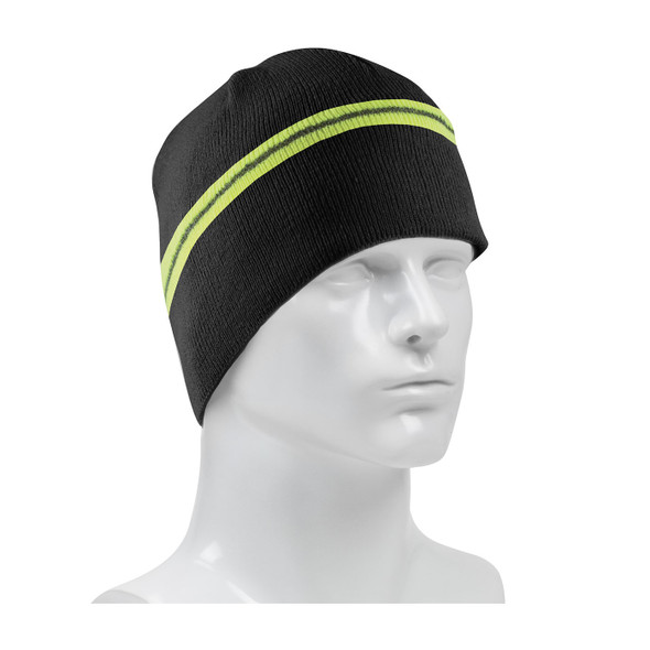PIP Black Winter Beannie Cap with Reflective Stripe 360-BEANNIE-BK